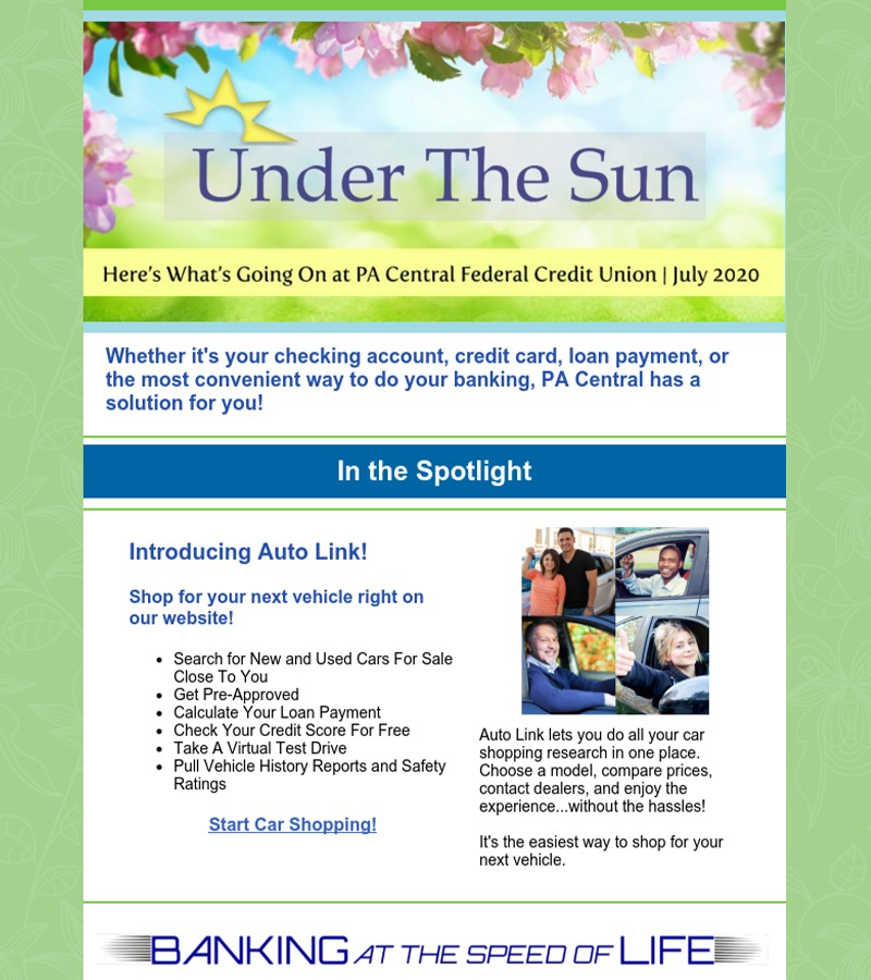 PA Central's Under The Sun July 2020 Member Newsletter