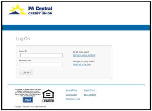 screenshot of login page