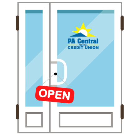 Image of PA Central front door - we are open
